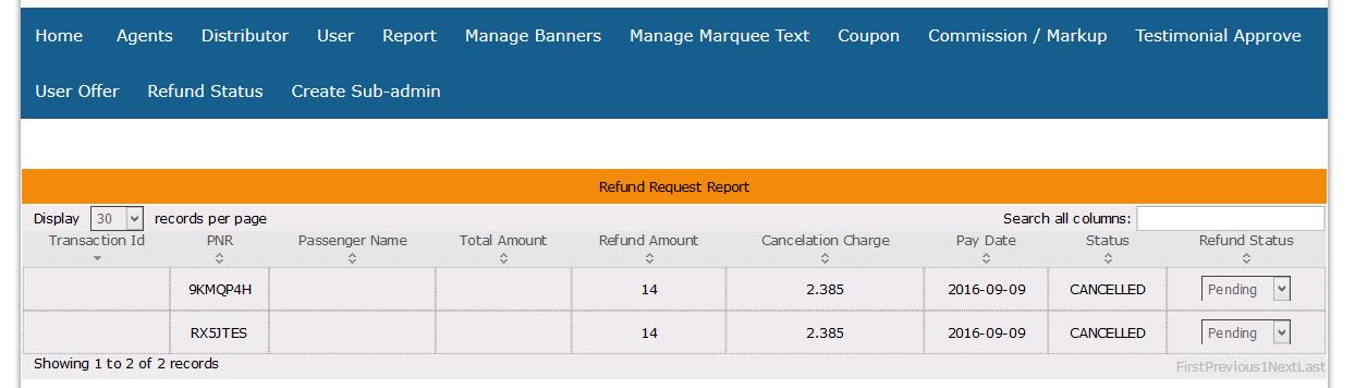 refund request report