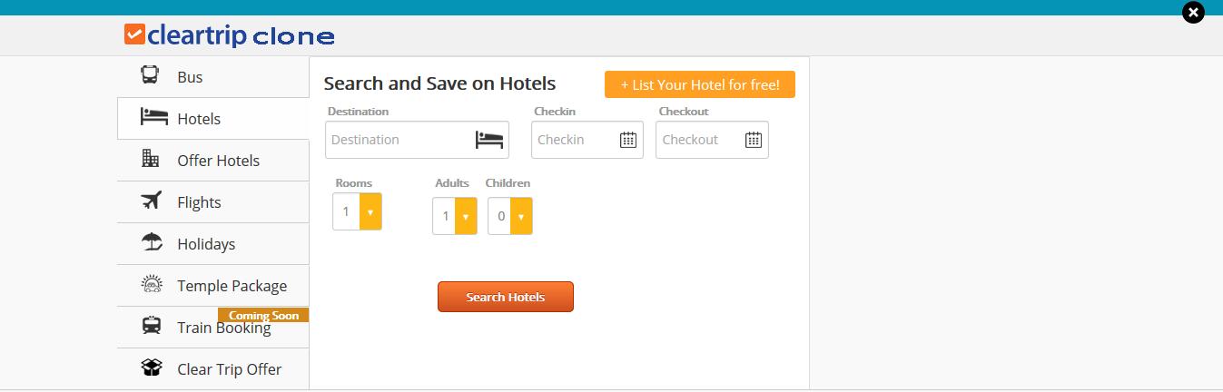 cleartrip clone-hotels
