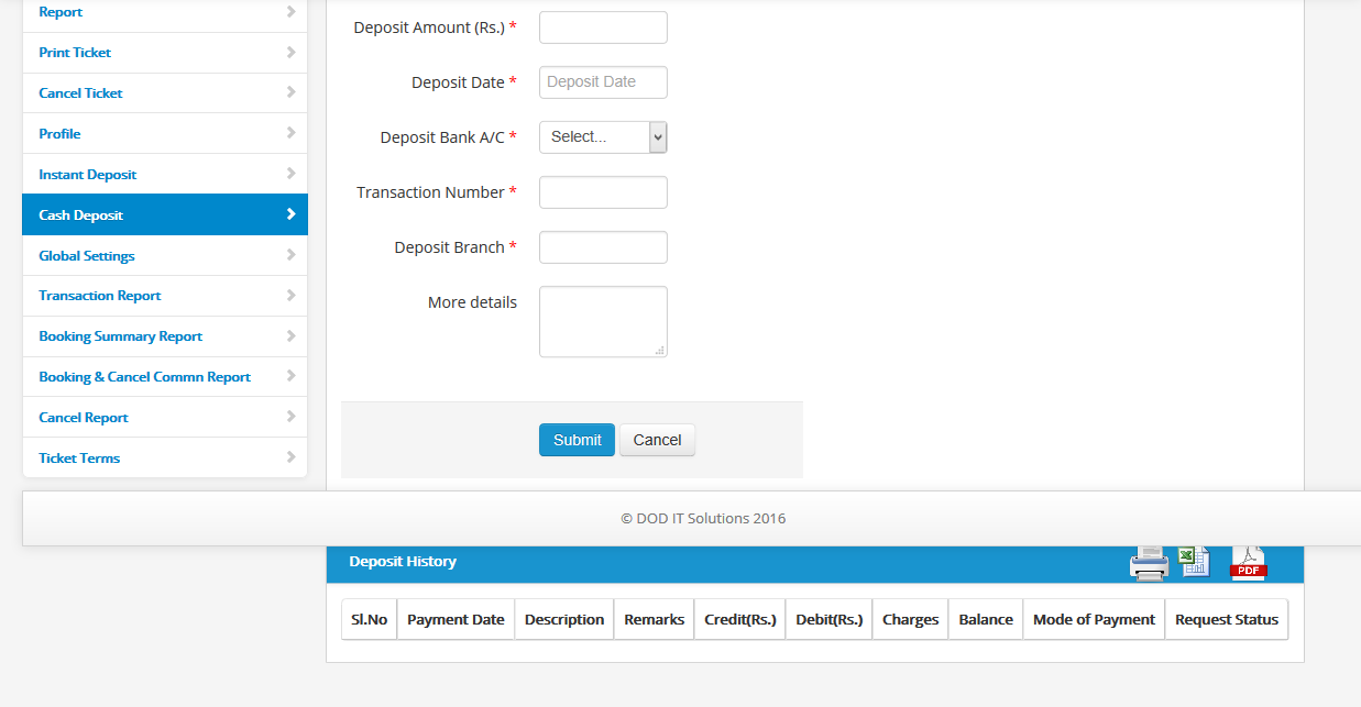 cash deposit form