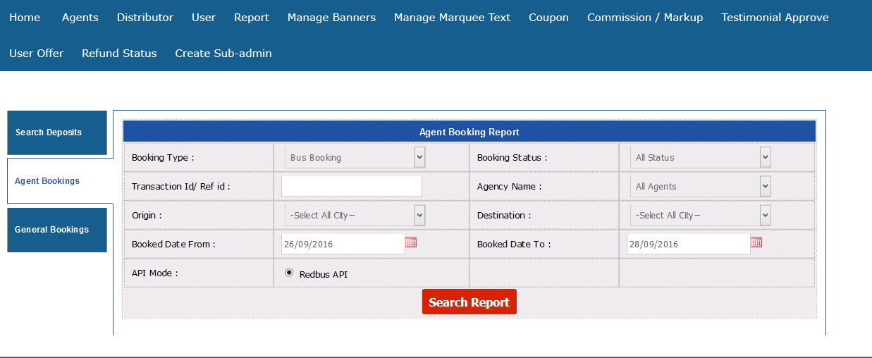 agent booking report