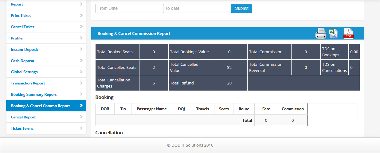 booking and cancel commission report