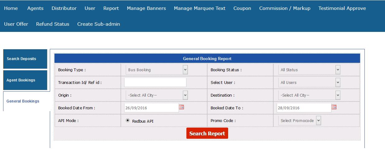 general booking report