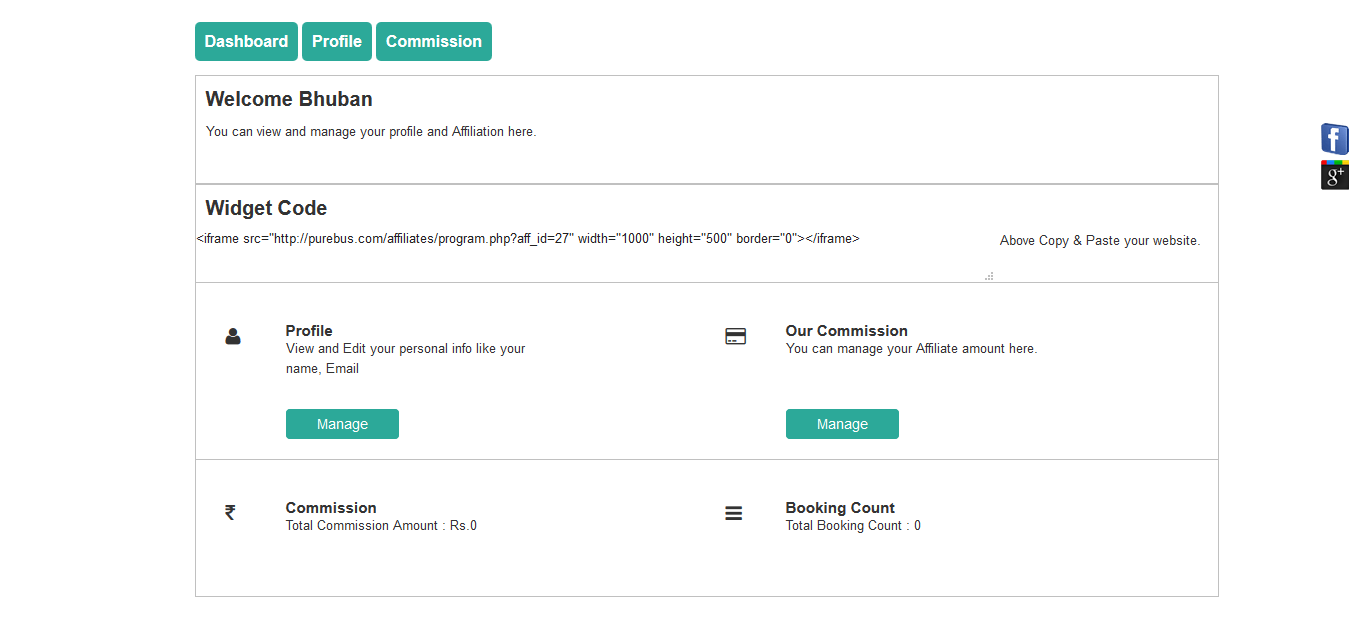 Ownbus-affiliate-user dashboard