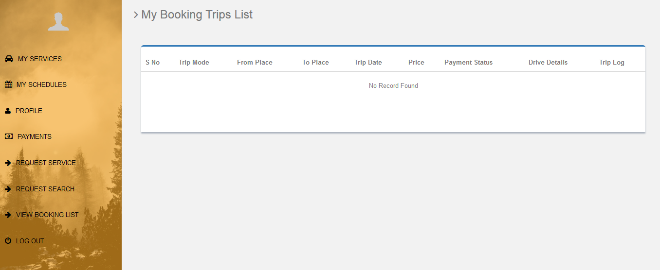 cab-user-booking list