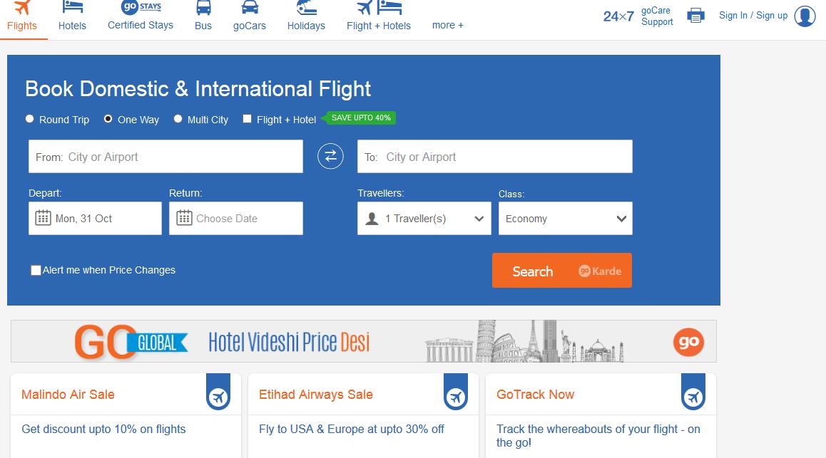 goibibo-clone-user-homepage-layout
