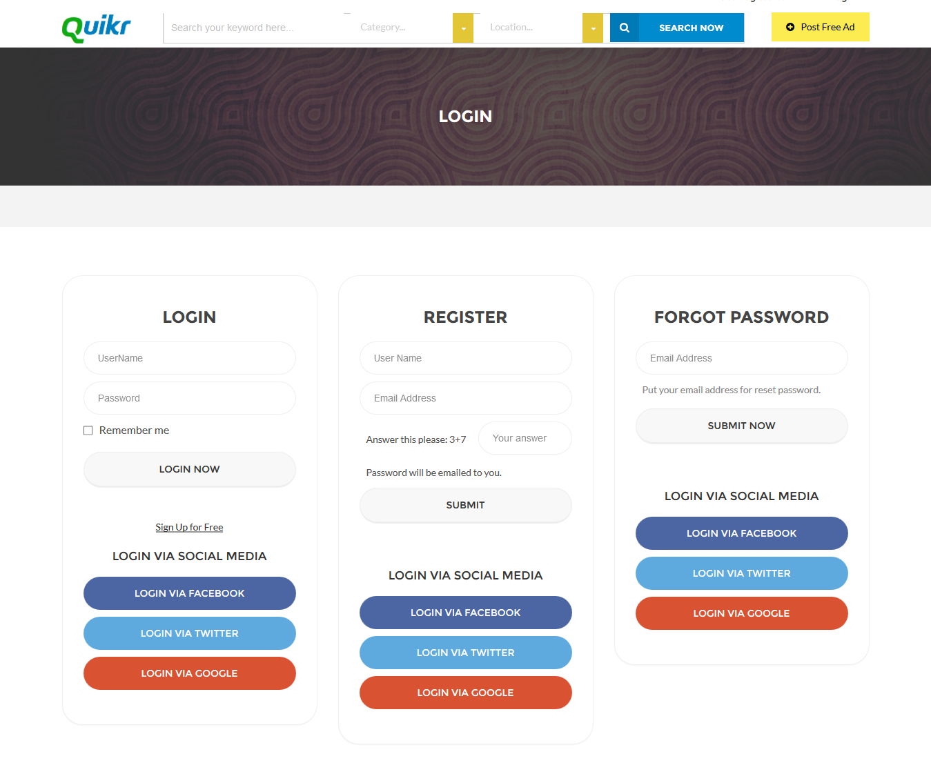 quikr-user-loginpage